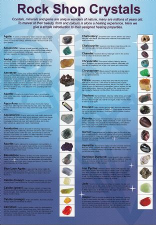Rock Shop Crystals Chart: 55 Gems and Minerals (Colour Illustrated Chart - A4)